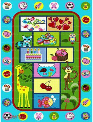 فرش کودک فرش ساوین -  لی لی حیوانات - 6 متری  چند رنگ