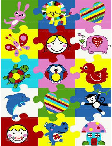 فرش کودک فرش ساوین -  پازل من - قالیچه  چند رنگ