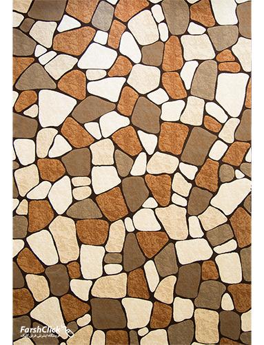فرش مدرن فانتزی فرش ساوین -  ماهور - سنگی - 6 متری  قهوه ای