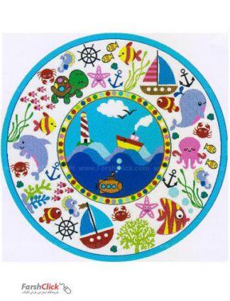 فرش کودک فرش ساوین -  حیوانات دریایی - قالیچه  چند رنگ