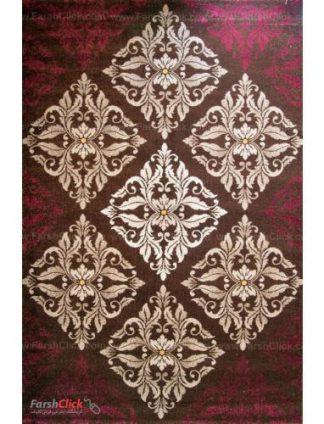 فرش مدرن فانتزی فرش ساوین -  کرانه - قالیچه  قهوه ای
