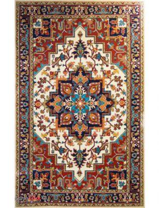 فرش مدرن فانتزی فرش ساوین -  پازیریک - هریس - 1/5 متری  کرم