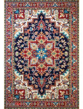 فرش مدرن فانتزی فرش ساوین -  پازیریک - هریس - 1/5 متری  سرمه ای