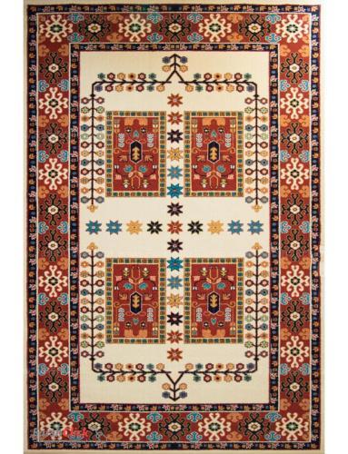 فرش مدرن فانتزی فرش ساوین -  پازیریک - قشقایی - 12 متری  کرم