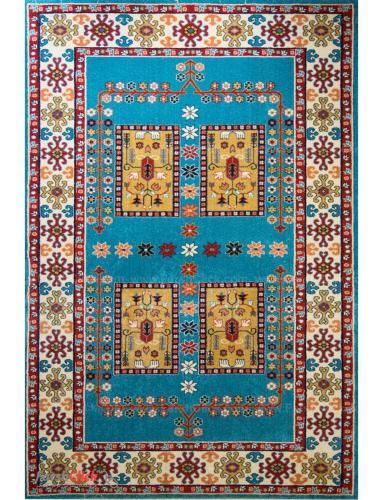 فرش مدرن فانتزی فرش ساوین -  پازیریک - قشقایی - 6 متری  آبی