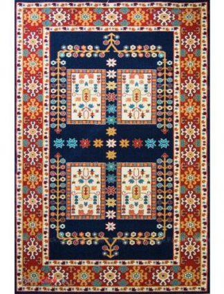 فرش مدرن فانتزی فرش ساوین -  پازیریک - قشقایی - 1/5 متری  سرمه ای