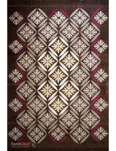 فرش مدرن فانتزی فرش ساوین -  رایان - 1/5 متری  قهوه ای