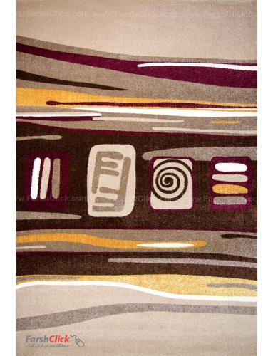 فرش مدرن فانتزی فرش ساوین -  صدف - هدیه - 1/5 متری  شکلاتی