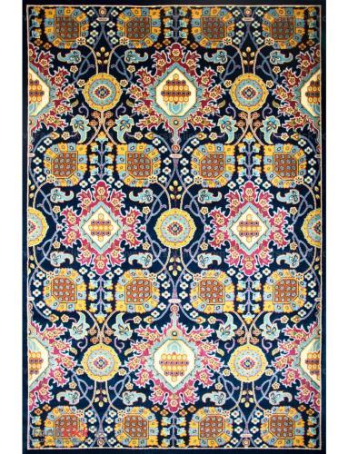 فرش مدرن فانتزی فرش ساوین -  ترنگ - 1/5 متری  سرمه ای