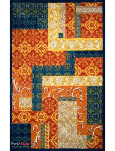 فرش مدرن فانتزی فرش ساوین -  یاس - 6 متری  سرمه ای