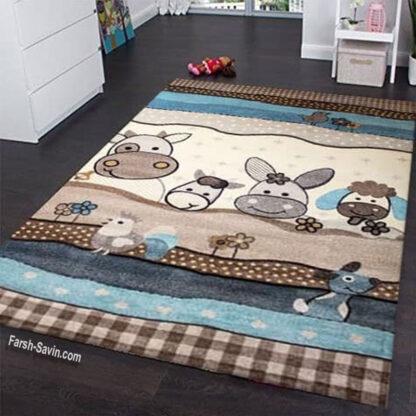 فرش ساوین 4034 حیوانات مزرعه 4 متری اتاق کودک