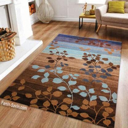 فرش ساوین 4001 شکلاتی 1/5 متری مدرن فانتزی
