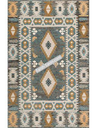 فرش ساوین 4036 آبی طرح گبه