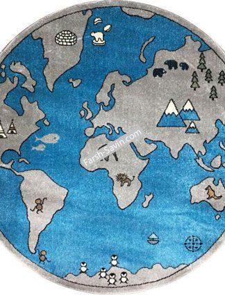 فرش ساوین 4047 کره زمین گرد اتاق کودک