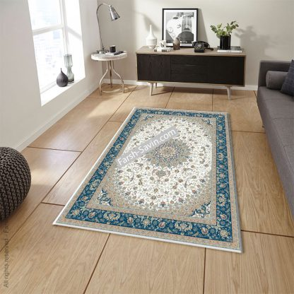 3003 کرم حاشیه آبی فرش ساوین