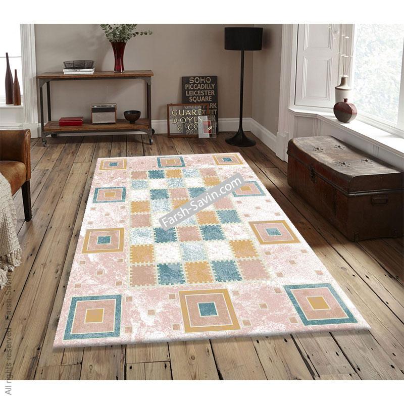 1504 زمینه آبی فرش ساوین