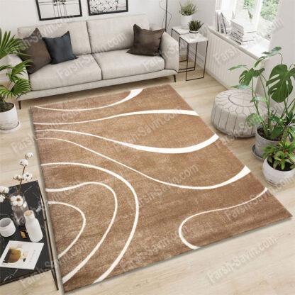 فرش ساوین سیوان شکلاتی 12 متری مدرن فانتزی