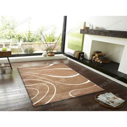 فرش ساوین سیوان شکلاتی 1/5 متری مدرن فانتزی