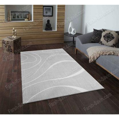 فرش ساوین سیوان نقره ای روشن 6 متری فانتزی مدرن