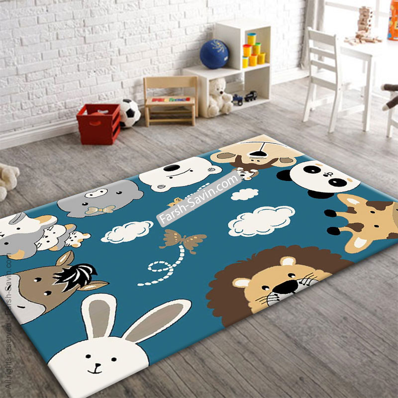 فرش ساوین 4058 حیوانات مهربان اتاق کودک
