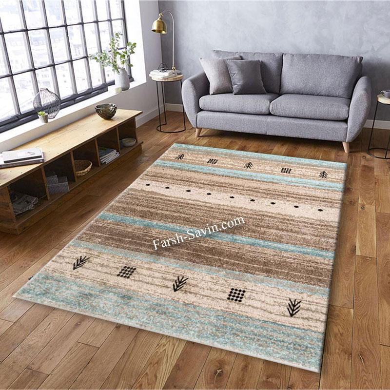 فرش ساوین 4002 شکلاتی فرش فانتزی