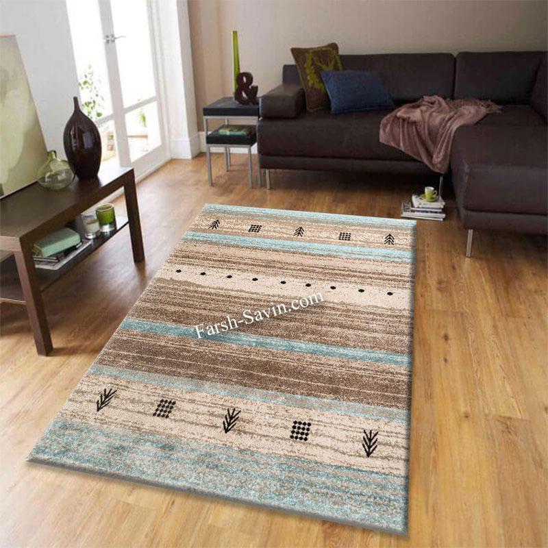 فرش ساوین 4002 شکلاتی فرش با کیفیت