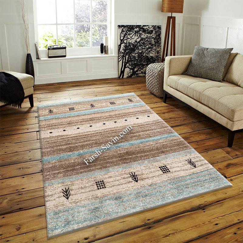 فرش ساوین 4002 شکلاتی فرش اتاق پذیرایی