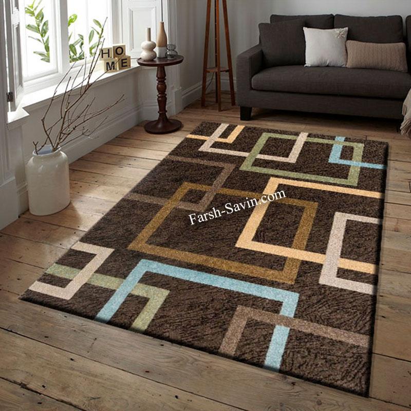 فرش ساوین 4003 نسکافه ای فرش اتاق پذیرایی