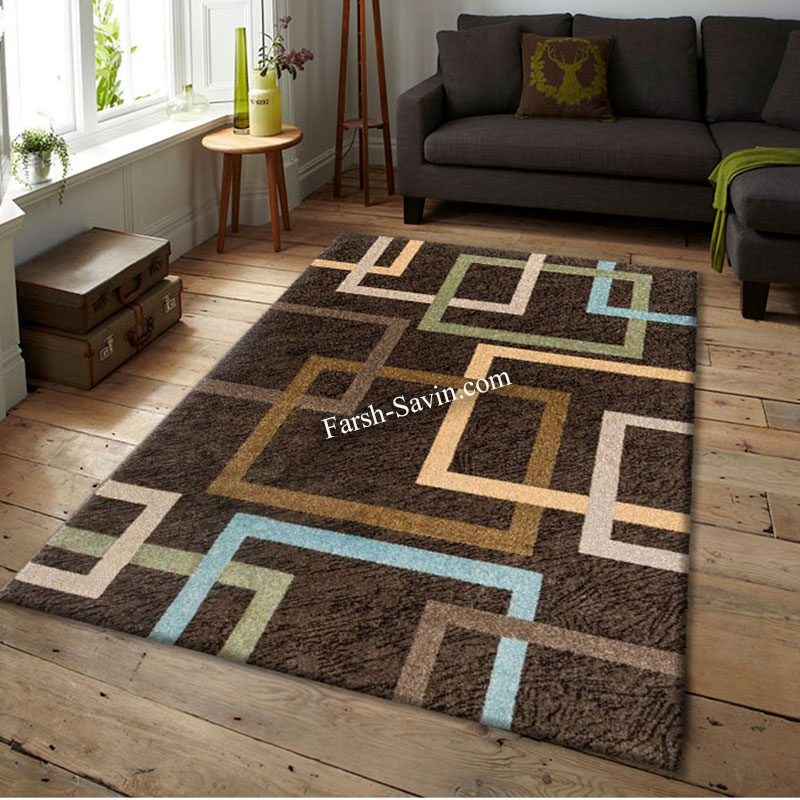 فرش ساوین 4003 نسکافه ای فرش اتاق خواب