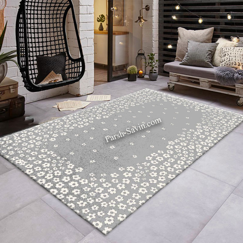 فرش ساوین 4007 نقره ای فرش خوش نقشه