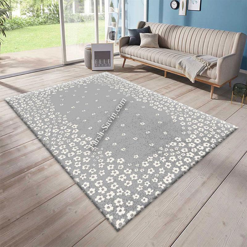 فرش ساوین 4007 نقره ای فرش فانتزی