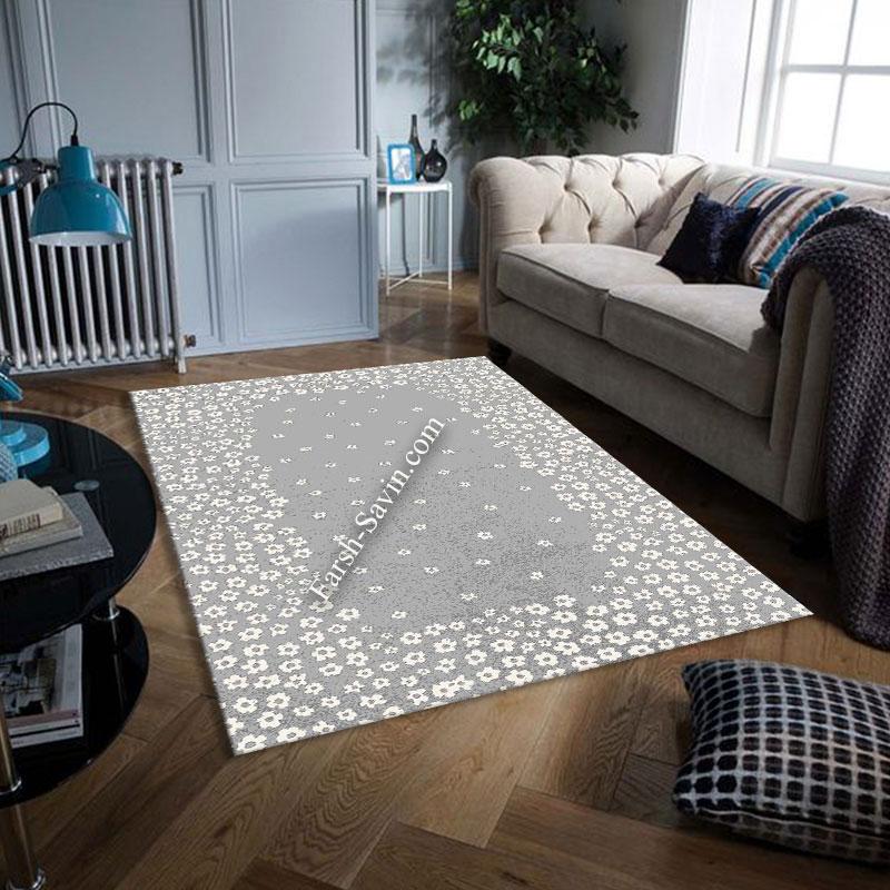 فرش ساوین 4007 نقره ای فرش لاکچری