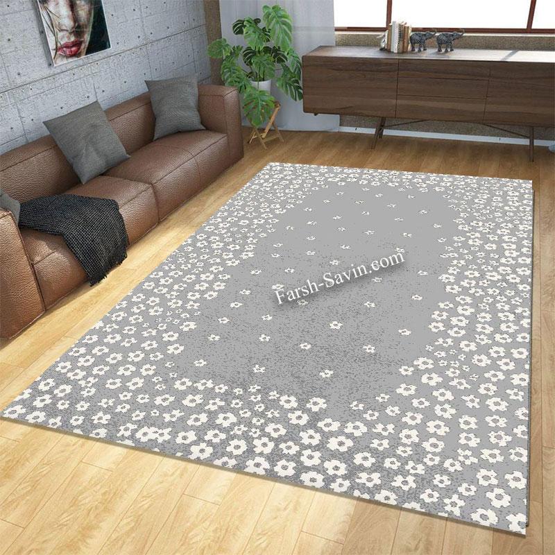فرش ساوین 4007 نقره ای فرش زیبا
