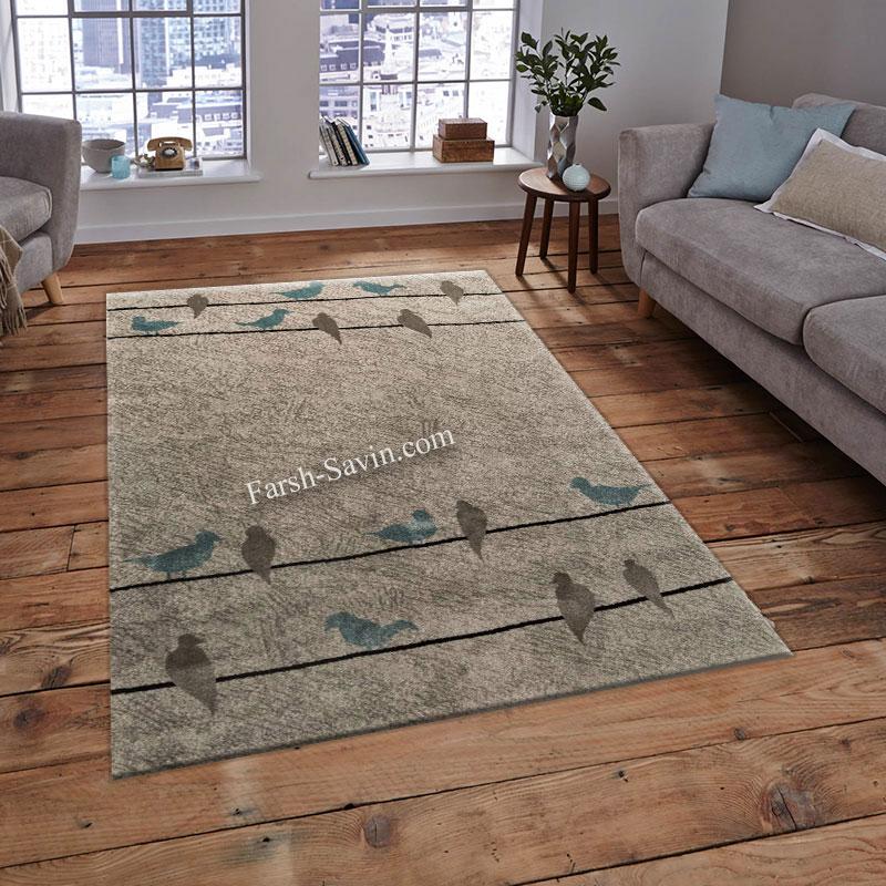 فرش ساوین 4008 نقره ای فرش با کیفیت