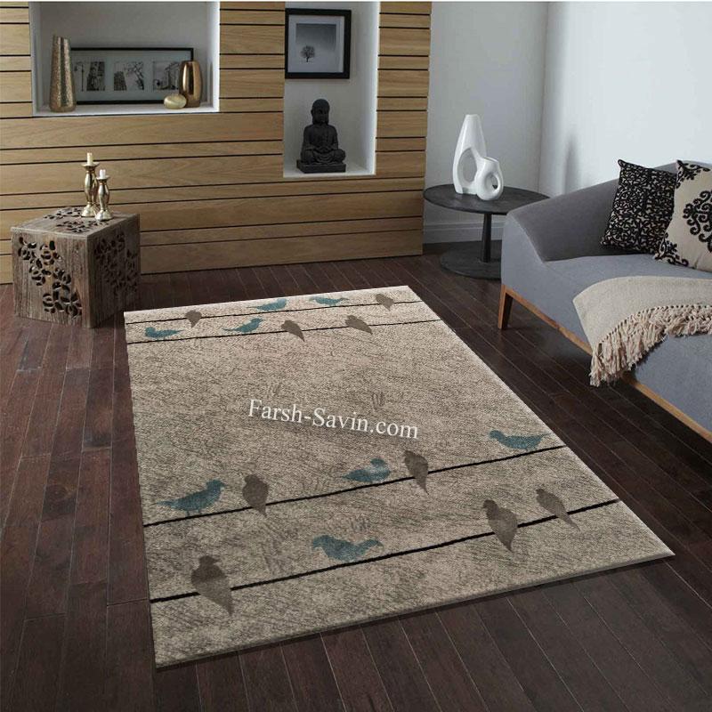 فرش ساوین 4008 نقره ای فرش اتاق خواب
