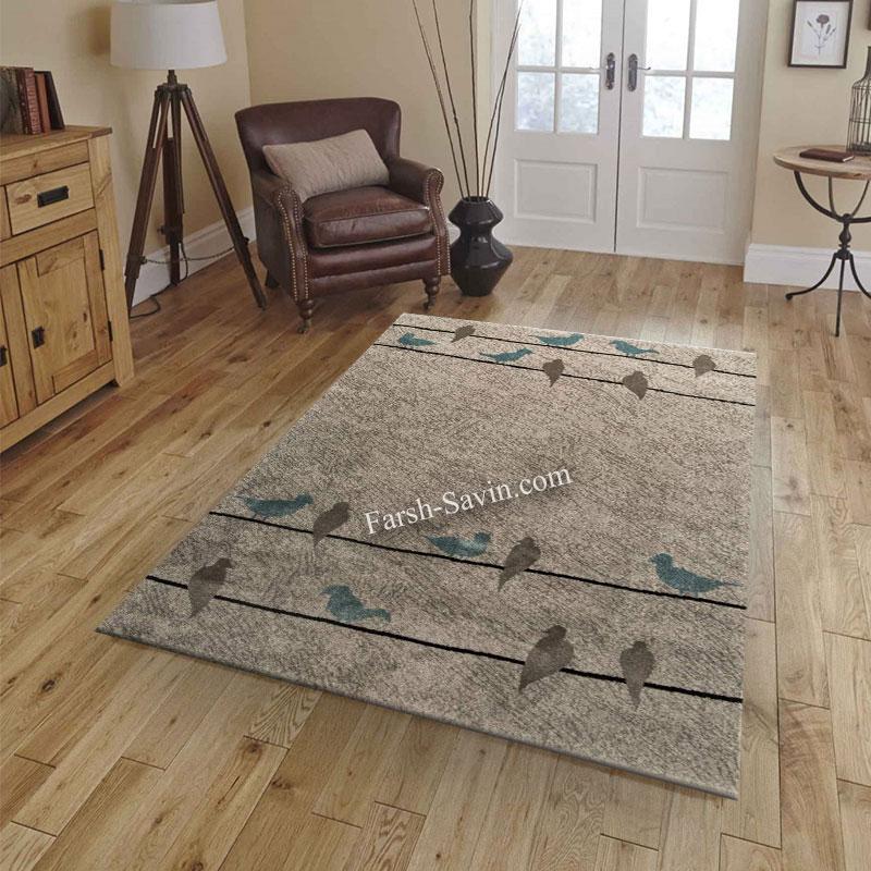 فرش ساوین 4008 نقره ای فرش فانتزی