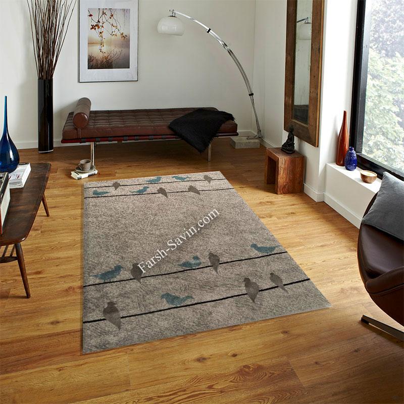 فرش ساوین 4008 نقره ای فرش ارزان قیمت