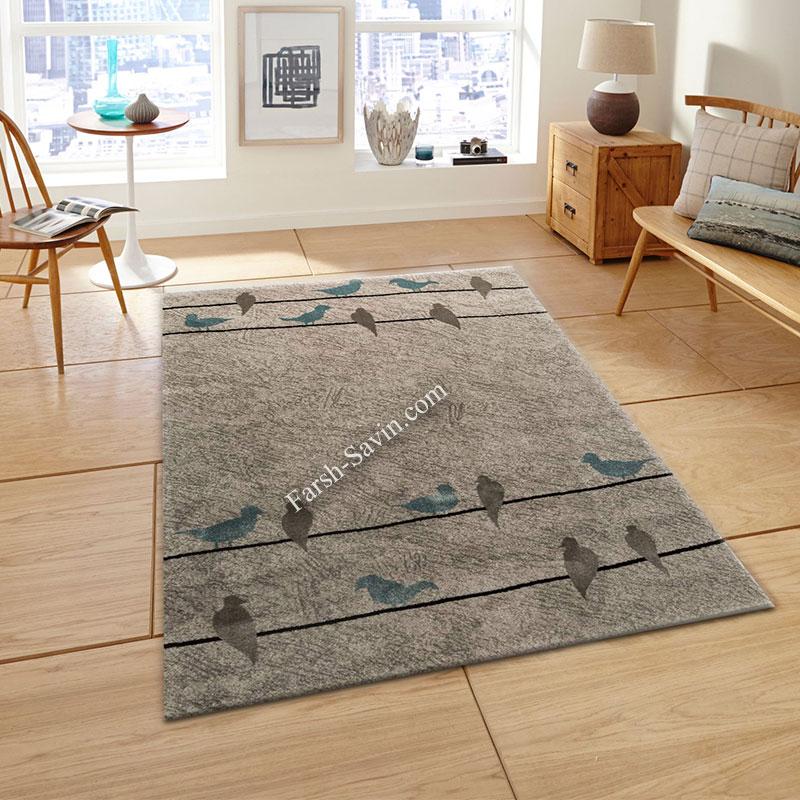 فرش ساوین 4008 نقره ای فرش آشپزخانه