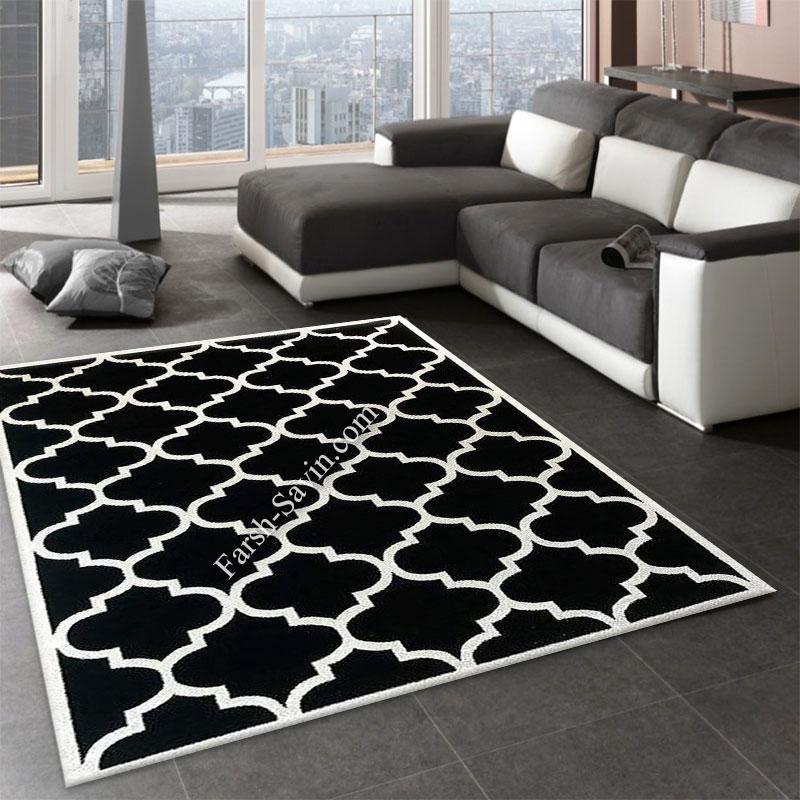 فرش ساوین 4025 مشکی فرش مدرن و شیک