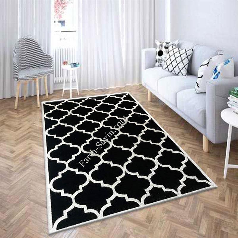 فرش ساوین 4025 مشکی فرش خاص