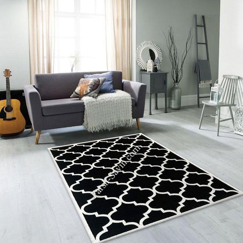 فرش ساوین 4025 مشکی فرش اتاق خواب