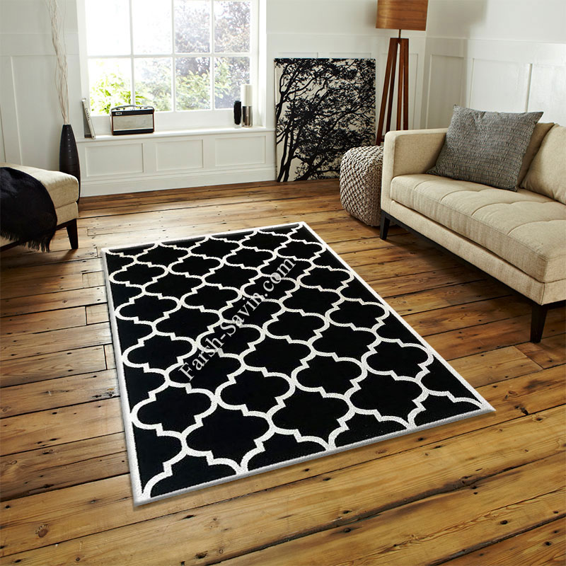 فرش ساوین 4025 مشکی فرش قیمت مناسب