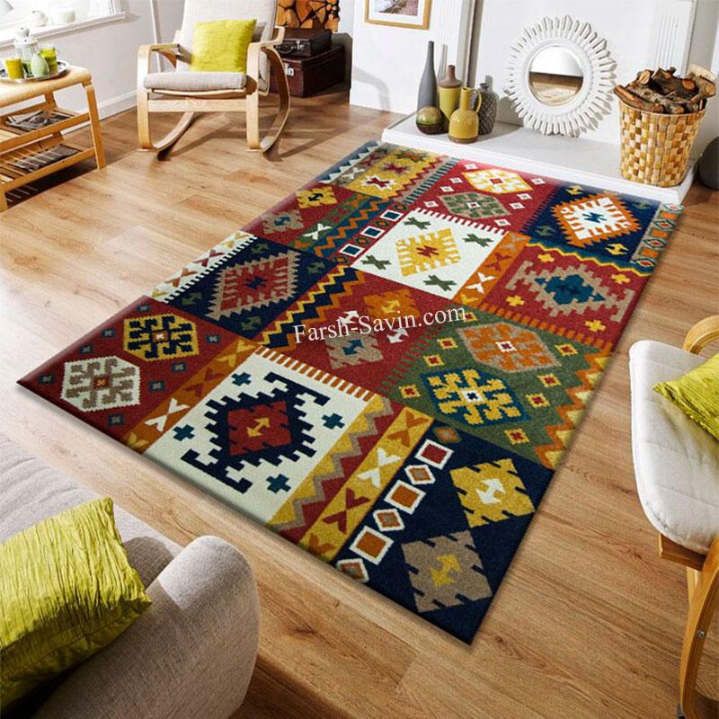 فرش ساوین کوکب زمینه لاکی فرش خوش نقشه