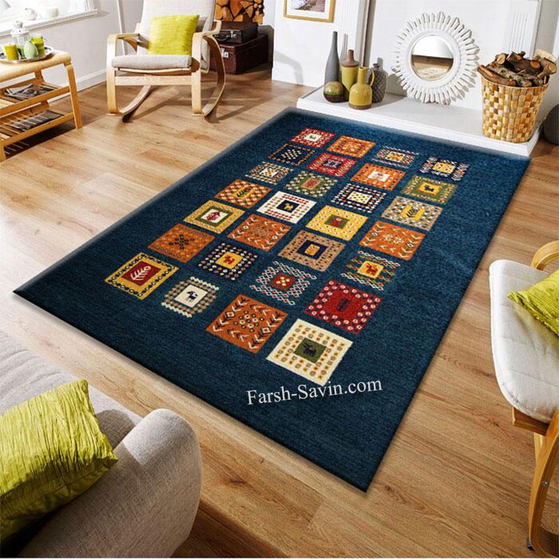 فرش ساوین مهر سرمه ای فرش زیبا