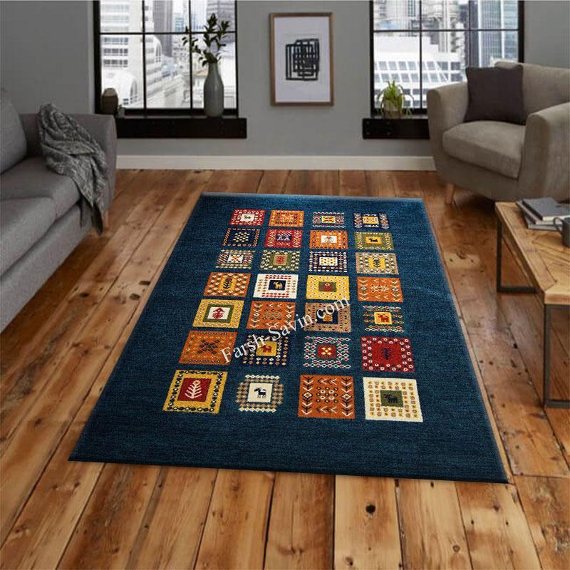 فرش ساوین مهر سرمه ای فرش ارزان و بادوام
