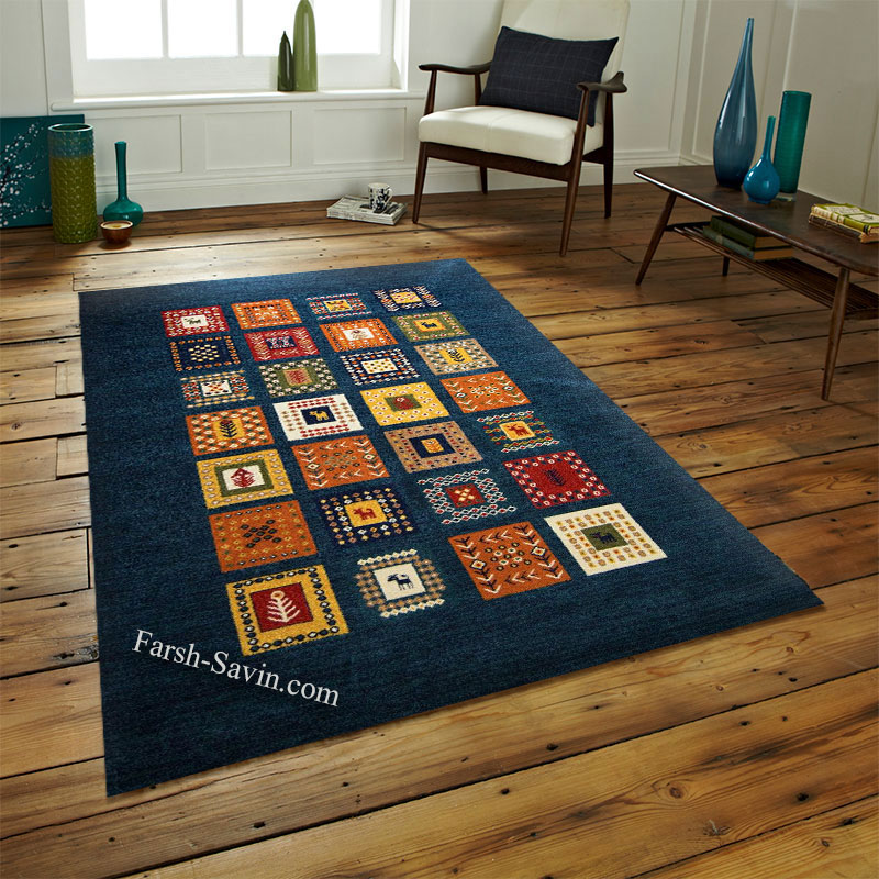 فرش ساوین مهر سرمه ای فرش ماشینی ساوین فرش
