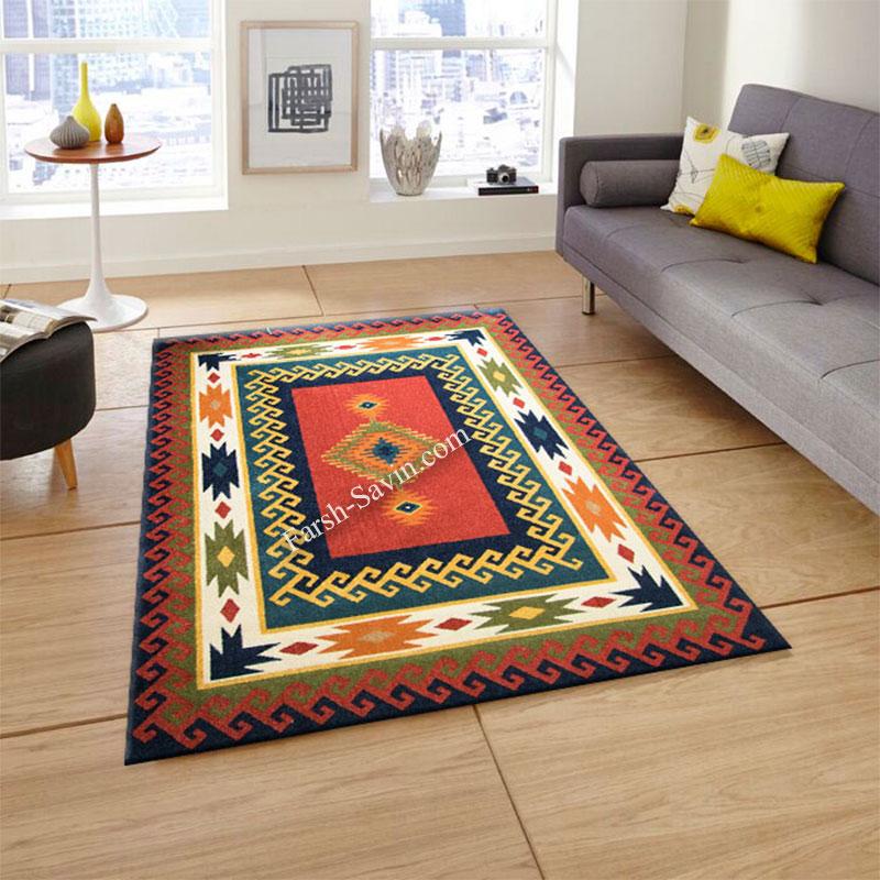 فرش ساوین پامچال سرمه ای فرش ارزان