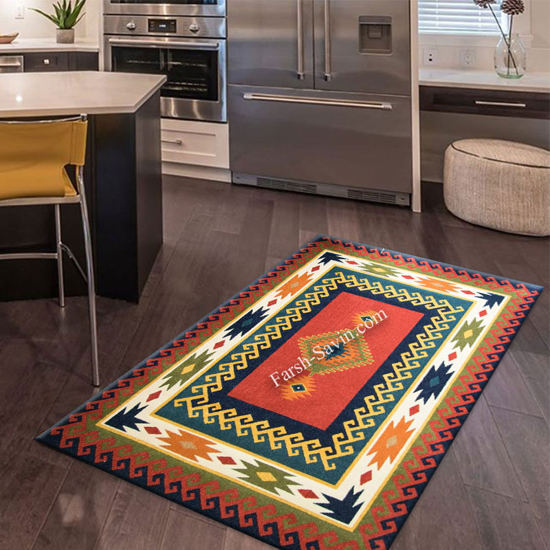 فرش ساوین پامچال سرمه ای فرش خوش نقشه