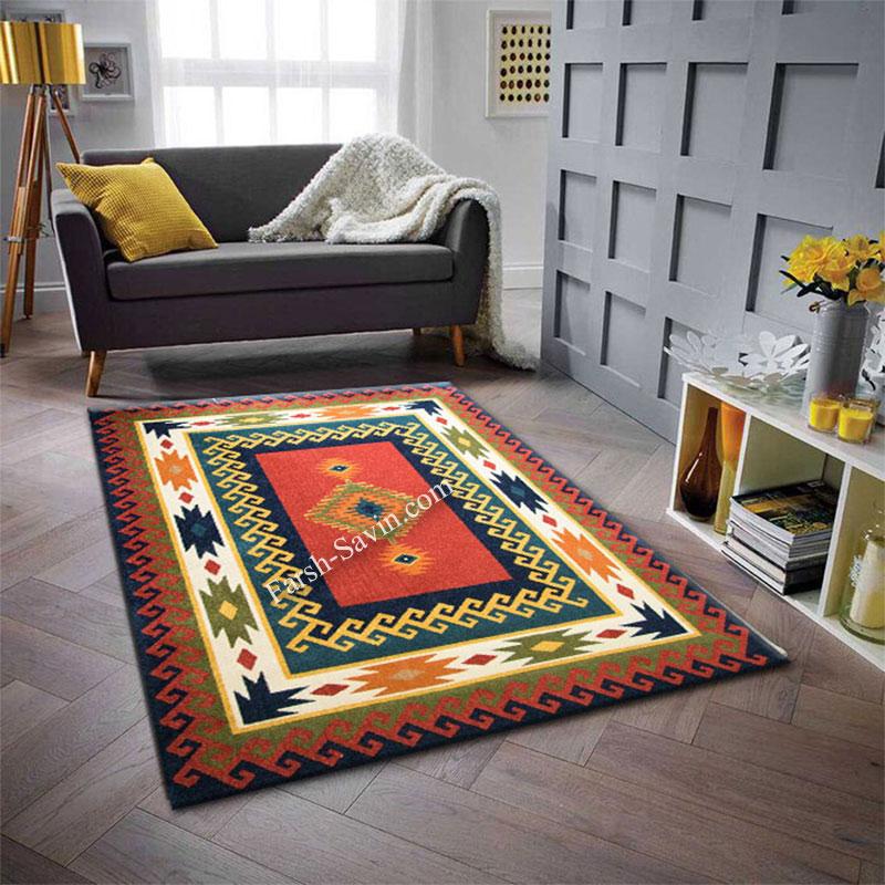 فرش ساوین پامچال سرمه ای فرش پرفروش
