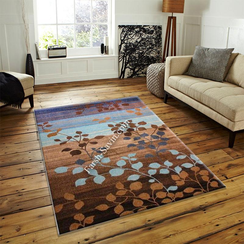 فرش ساوین 4001 شکلاتی فرش خوش نقشه